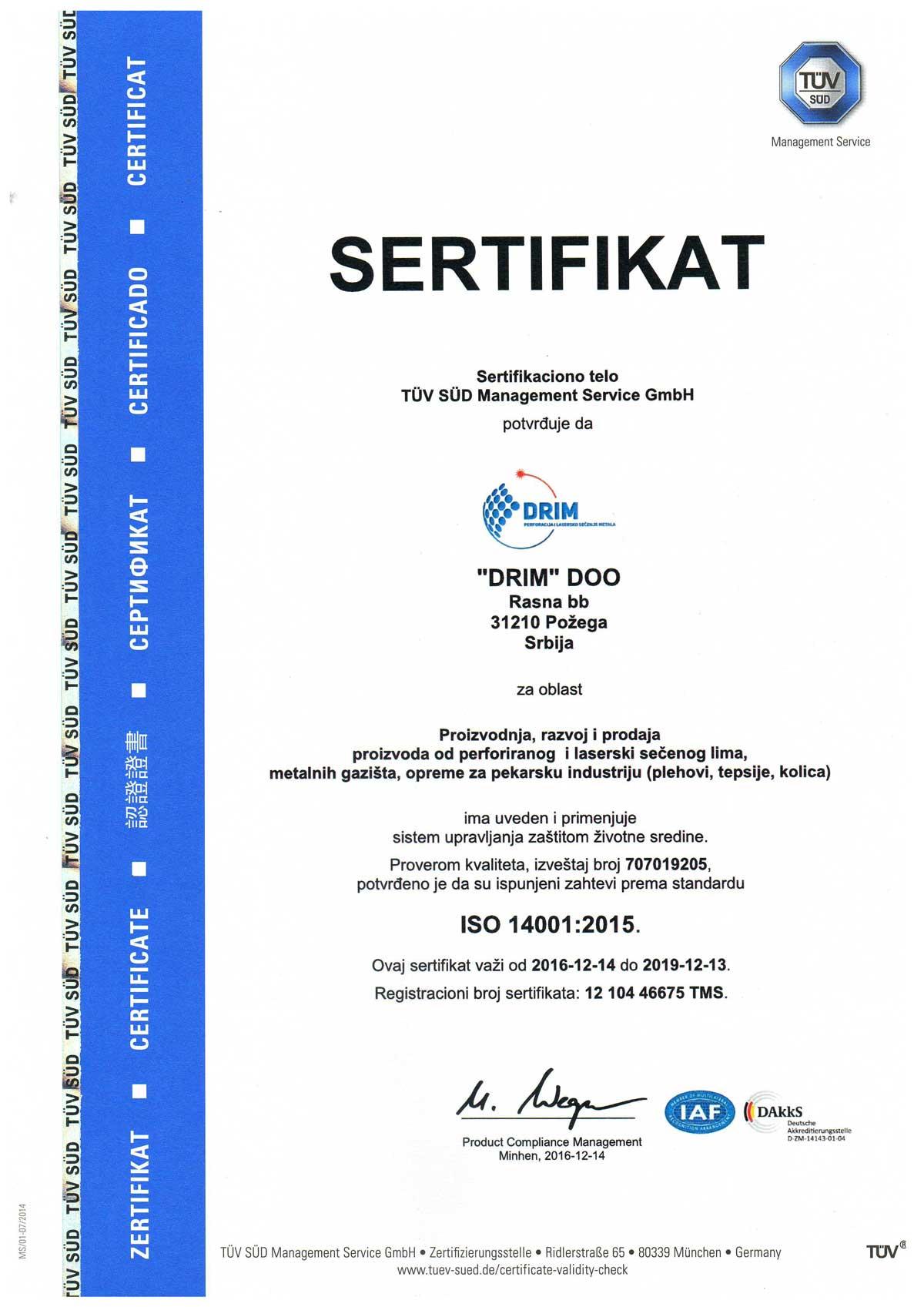 iso 1400:1 sertifikat
